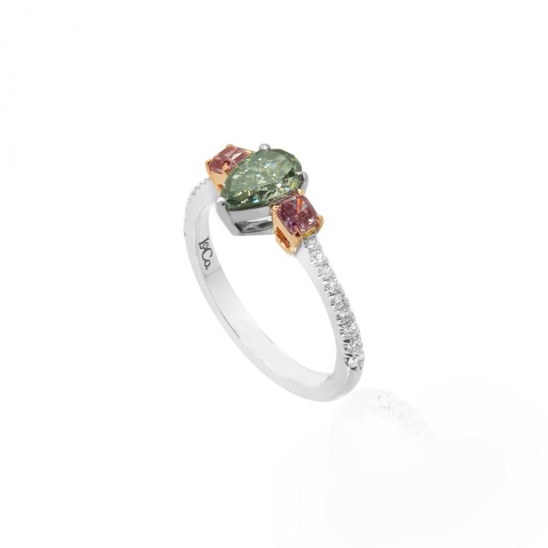 A Fancy Gray Green Amp Fancy Deep Orange Pink Diamond Ring