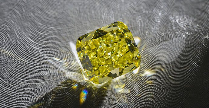 8.88 carat, Fancy Intense Yellow Diamond, Cushion Shape, VS1 Clarity, GIA