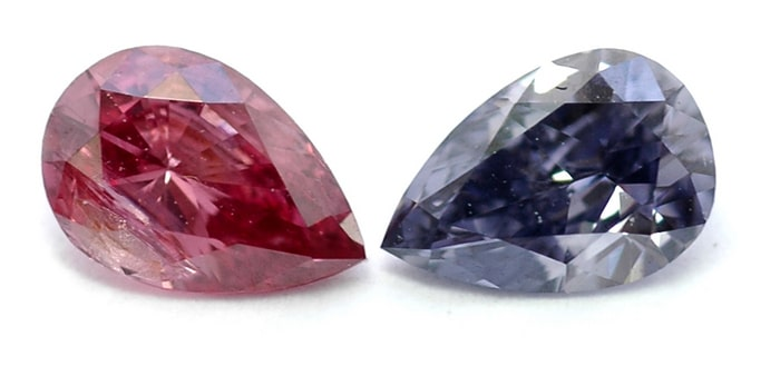 Un diamante en forma de pera de lujo de color rosa oscuro y un diamante en forma de pera Fantasía violeta