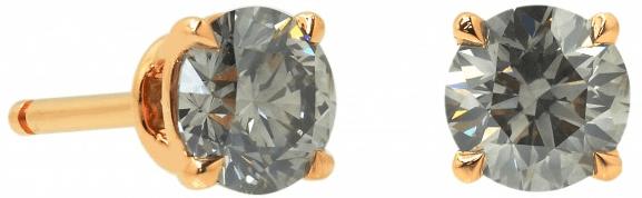1.10 quilates Pendientes Diamante Fancy Gris Stud Leibish & Co. brillante redondo